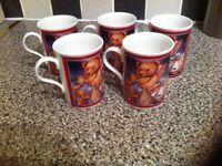 5x Fine Bone China Mugs