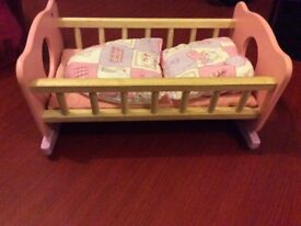 Wooden doll cot