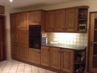 Solid oak kitchen units for sale. Excellent condition external & internal. Includes sink.