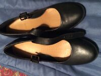 Black Leather - wedge shoes size