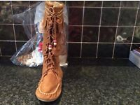 Next new suede tassel boots with tags