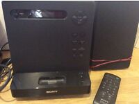 Sony CD Player, Radio & old iPod doc with 2 speakers