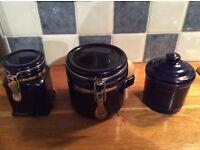 Three cobalt blue kitchen storage ceramic. 2 with Kilner jar type fittings