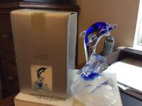 Cristal D'Arques Leaping Dolphin Blue and Clear Glass Sculpture