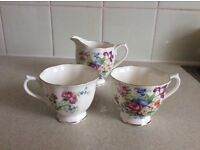 Lovely Set of Two Cups and a Milk Jug (Royal Albert Bon China)