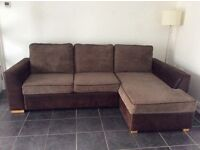 Large corner sofa bed, brown faux leather with jumbo cord cushions, in great condition