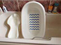 Baby bath, bath support and foam bath support