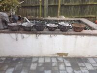 Bundle of garden bits, hanging baskets, pots, shelf