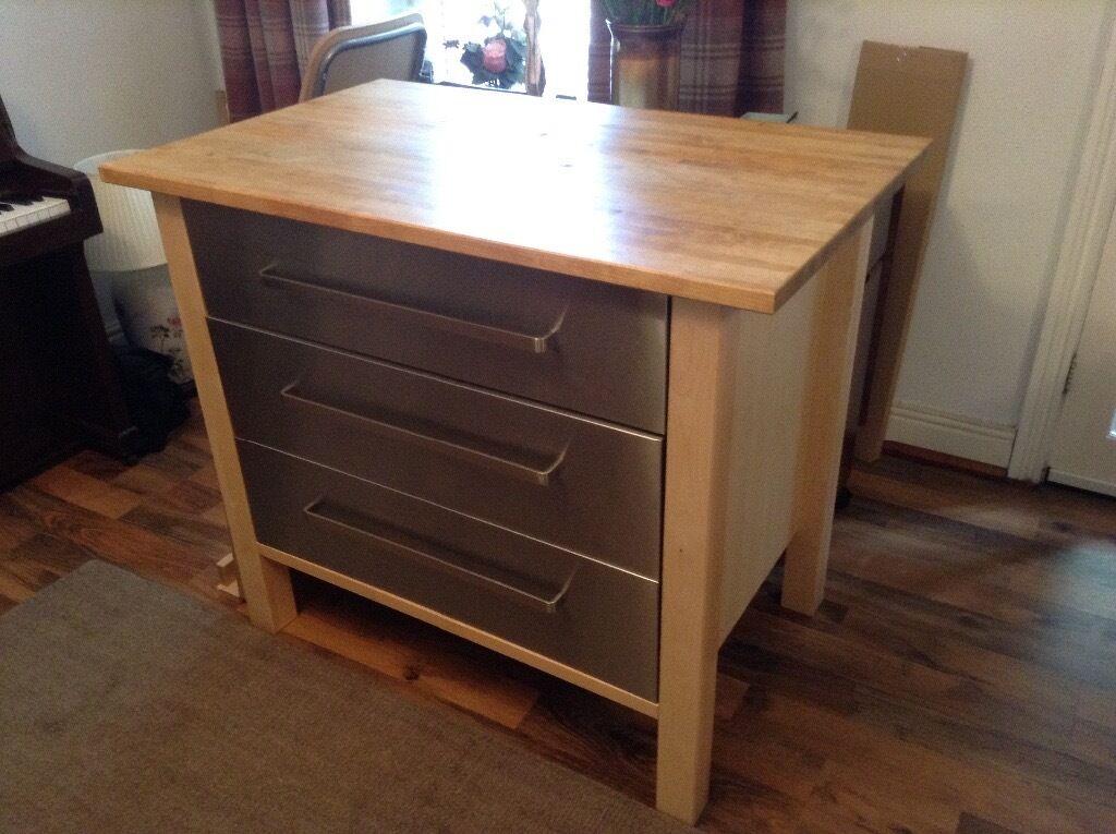 Ikea Varde Stainless Steel Kitchen Unit With Beech Worktop