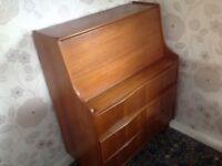 Solid wood retro vintage Bureau Writing Desk