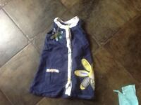 Navy linen dress with flower motif Age 2-3 years