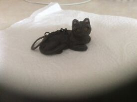 Cat key ring in the shape of a black cat