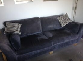Two dark grey fabric settees. One 3 seater and one 2 seater only 4 years old ex gillies £150 ono