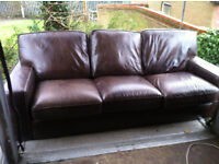 Leather 3 seater sofa/setee and one matching chair
