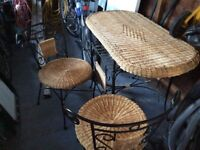WICKER BREAKFAST TABLE AND TWO CHAIRS