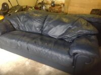 Land of Leather Italian blue leather sofa and two armchairs
