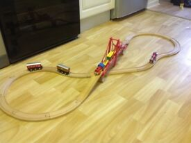 Brio wood train track