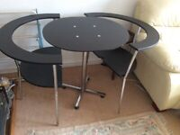 Dining table and 2 matching fitting chairs circular