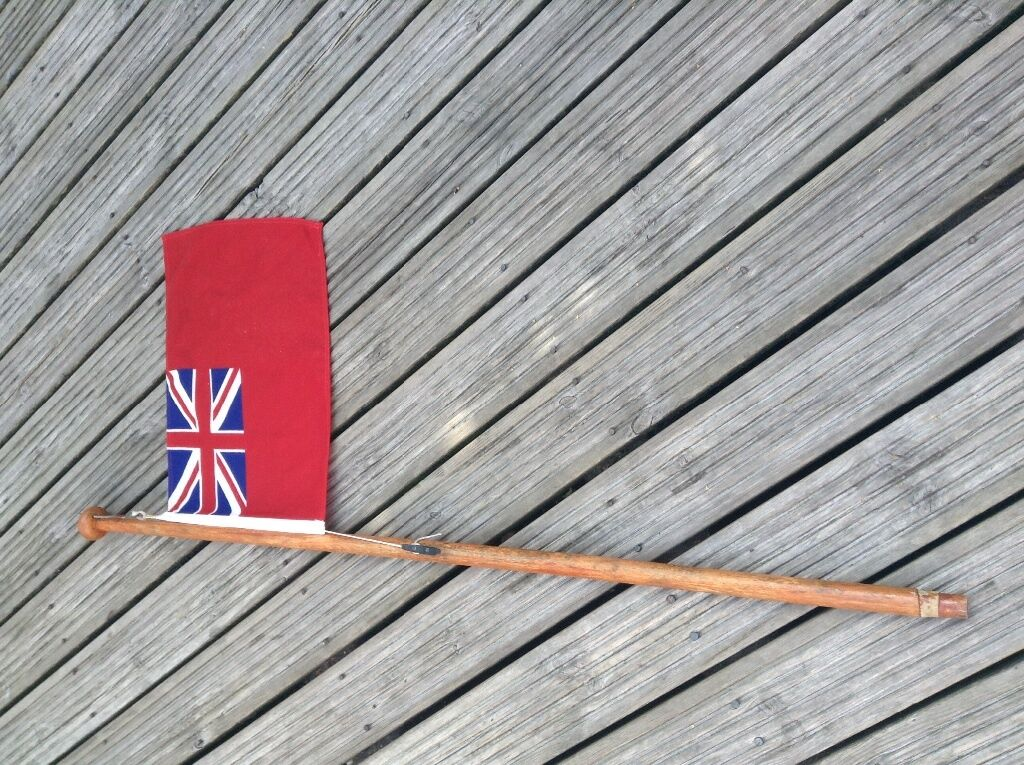 Red En Sign For Boat Jetski Flag With Wooden Pole In
