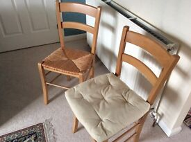 4 farmhouse wooden chairs with cushions £10 each or all for £30