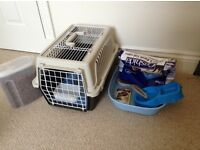 Cat box, litter tray, poop scoop, food bowl and food