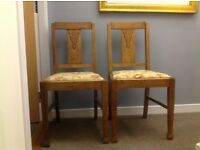 2 Matching Antique Oak Dining Chairs