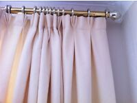 2 PAIRS of Cream / Pale Beige Floor Length Curtains. Professionally Handmade, Pinch Pleat at Top