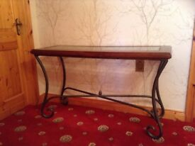 Hall table excellent condition gun metal grey cast iron with oak trim and glass top