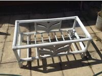 Bamboo coffee table. Shabby chic in grey and white with glass top. Measurements :36x20x16inches