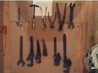 Plumbing tools, Hand tools, Stillsons, footprints,