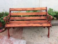 Decorative cast iron garden bench. 6 new wooden slates. Brass screws 4ft3 inch wide x 18 inch depth.