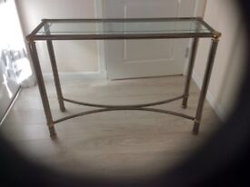 Glass topped console table