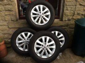 Wheel rims with tyres from a Volkswagen transporter T6 2016 all tyres 8000 miles no repairs