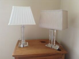 2 Glass Lamps with Shades