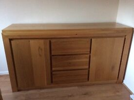 Solid oak sideboard and solid oak coffee table. Modern good condition for sale as downsizing