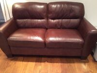Chocolate Brown leather 2&3 seater sofas - £120 ono
