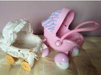 Dolls pram & cot