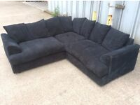 Black Jumbo Cord Corner Sofa - £325 Including Free Local Delivery
