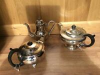 3 White Metal/Silver Plated Teapots