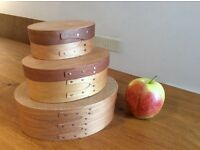 Set of 3 small shaker wooden storage boxes