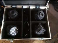 4 LANTA MOVING HEADS WITH CLAMPS AND FLIGHT CASE