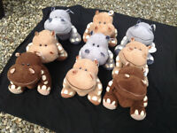 Nine Sitting Hippos,Soft Quality, Job Lot,New