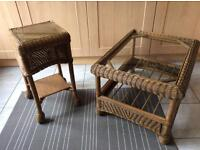 Pair of wicker tables