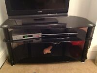TV and Video table -black glass,