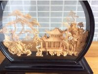 Chinese Cork Carving Sculpture in glass case good condition.