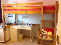 Pine single bunk bed with excellent mattress. £75