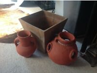 3 large terra cotta pots including straubbery pot, east London
