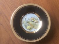 Chokin Japanese Plate With 24 Carat Gold Edging. Peacock Design. Boxed with Stand