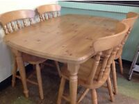 As New Solid Wood Table and Chairs