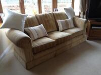 LARGE THREE SEATER SOFA, PALE GOLD STRIPE FABRIC, IMMACULATE CONDITION